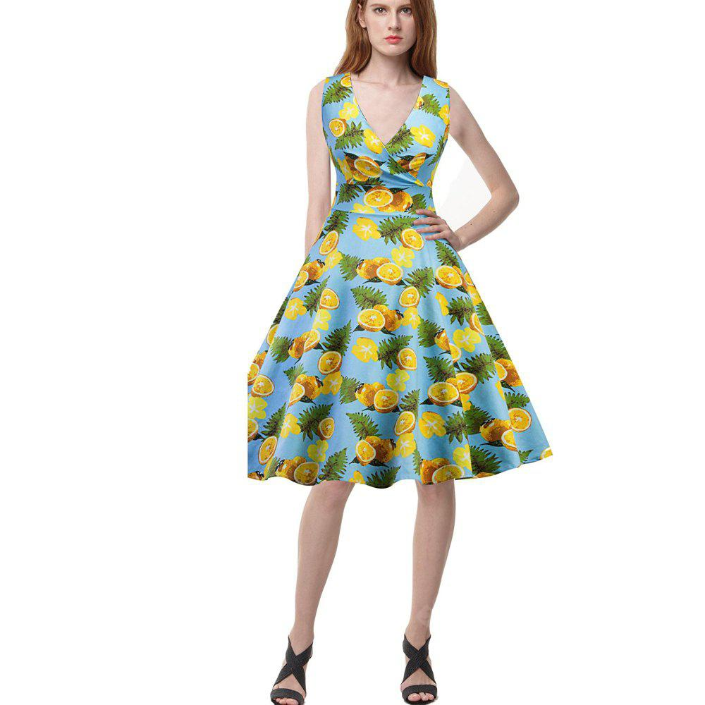New Lemon Floral Print Retro Pengpeng Dress