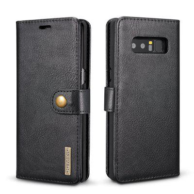 DG.MING Premium Genuine Cowhide Leather Case with Detachable Magnetic Back Cover for Samsung Galaxy Note 8