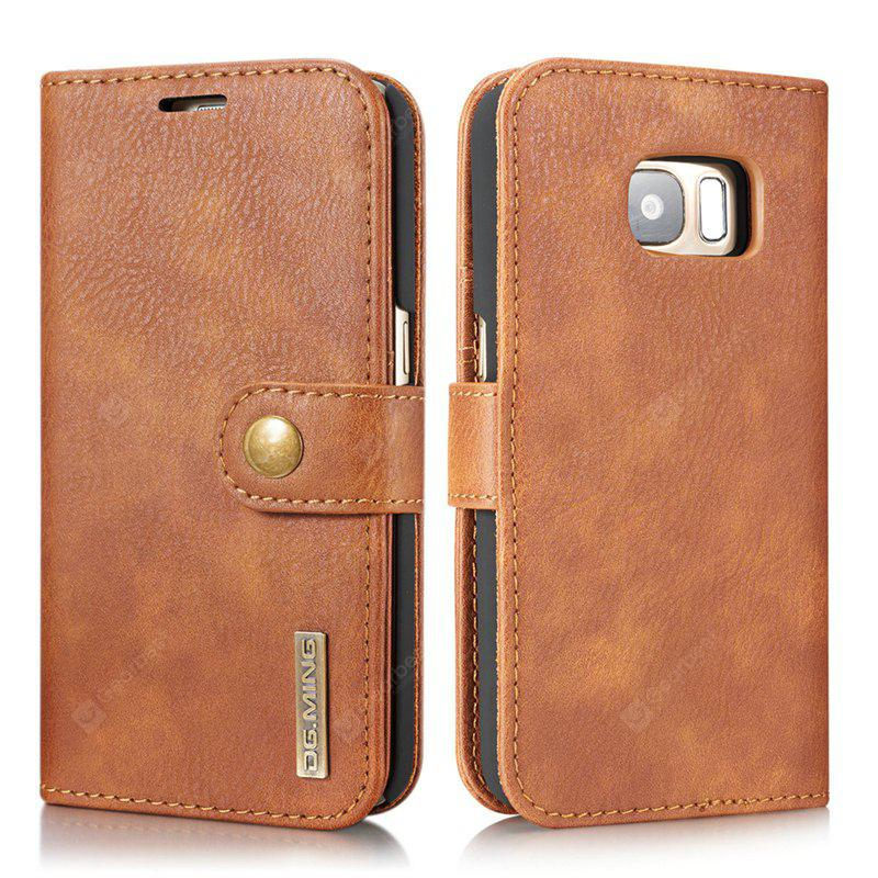 DG.MING Premium Genuine Cowhide Leather Case with Detachable Magnetic Back Cover for Samsung Galaxy S7