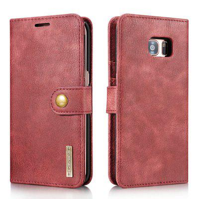 DG.MING Premium Genuine Cowhide Leather Case with Detachable Magnetic Back Cover for Samsung Galaxy S7 Edge
