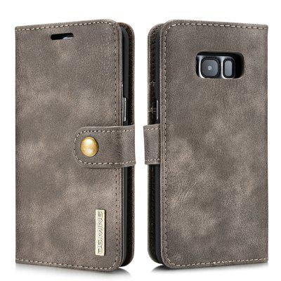 DG.MING Premium Genuine Cowhide Leather Case with Detachable Magnetic Back Cover for Samsung Galaxy S8