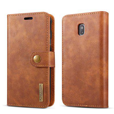 DG.MING Premium Genuine Cowhide Leather Case with Detachable Magnetic Back Cover for Samsung Galaxy J330 EU Edition