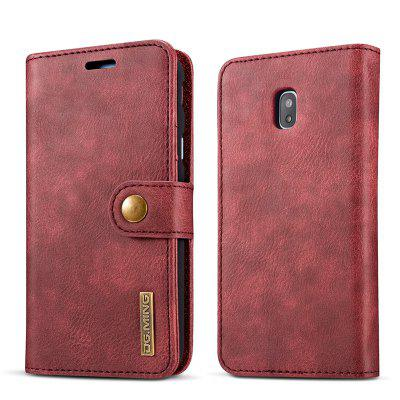 DG.MING Premium Genuine Cowhide Leather Case with Detachable Magnetic Back Cover for Samsung Galaxy J730 EU Edition