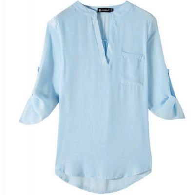 Chiffon Big Size V Collar Shirt