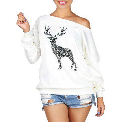 Christmas Stamp All-Match Loose Collar Cashmere T-Shirt