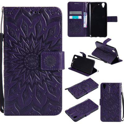 Sunflower Printing Design Pu Leather Flip Wallet Lanyard Protective Case for Huawei Y6 II