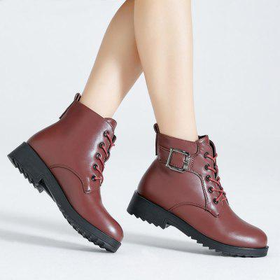 Platform  Winter Warm PU Leather Lace Up Short BootsWomens Boots<br>Platform  Winter Warm PU Leather Lace Up Short Boots<br><br>Boot Height: Ankle<br>Boot Tube Height: 16<br>Boot Type: Snow Boots<br>Closure Type: Lace-Up<br>Embellishment: Buckle<br>Gender: For Women<br>Heel Height: 3<br>Heel Height Range: Low(0.75-1.5)<br>Heel Type: Wedge Heel<br>Insole Material: PU<br>Lining Material: Plush<br>Outsole Material: PU<br>Package Contents: 1  x  Shoes(pair)<br>Pattern Type: Solid<br>Season: Winter<br>Shoe Width: Medium(B/M)<br>Toe Shape: Round Toe<br>Upper Material: PU<br>Weight: 1.7980kg