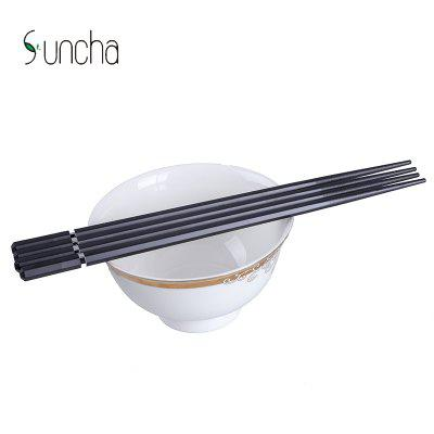 Suncha Chopsticks with Metal RingOther Kitchen Accessories<br>Suncha Chopsticks with Metal Ring<br><br>Brand: Suncha<br>Material: Fiberglass, High Polymer Material<br>Package Contents: 5 x Pair of Chopsticks<br>Package size (L x W x H): 32.00 x 15.00 x 5.00 cm / 12.6 x 5.91 x 1.97 inches<br>Package weight: 0.1980 kg<br>Product size (L x W x H): 30.00 x 13.00 x 3.00 cm / 11.81 x 5.12 x 1.18 inches<br>Product weight: 0.1900 kg<br>Type: Other Kitchen Accessories