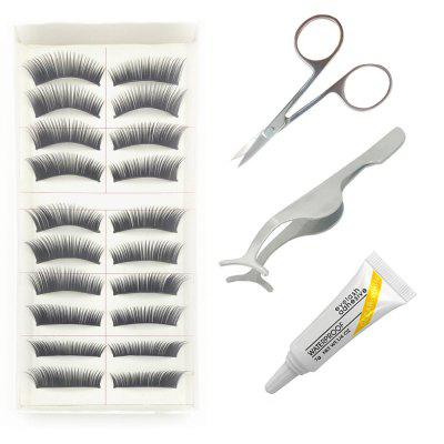 4 in 1 Black Thick Eye End Stretched False Eyelash Kit Suit