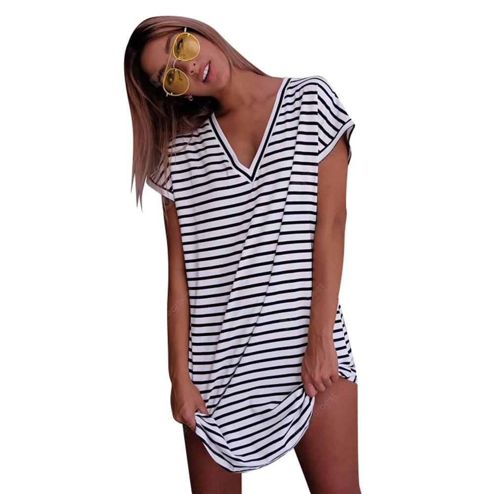 Camicia a maniche corte con scollo a V, modello Long Street Fashion Stripes
