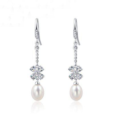 JAMOUR S925 Silver Natural Fresh Four Leaf Clover Temperament Wild Long Earrings