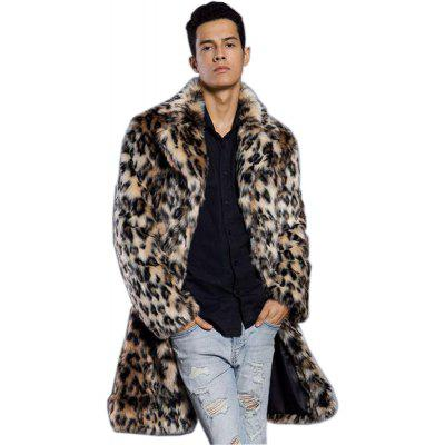 Faux Fur Coat Men's Leopard Turndown Collar Long Sleeve Regular Fit Long Coat