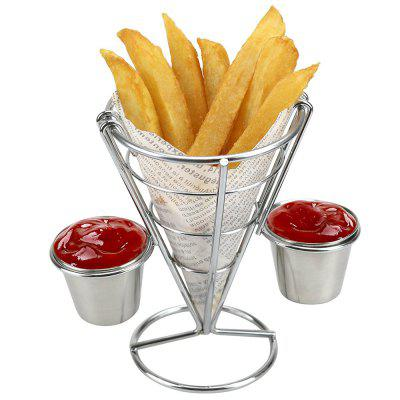 French Fry Holder with Double Sauce Stand Cone Fries Holder Holds  Popcorn Vegetables Fruit and Other Appetizers