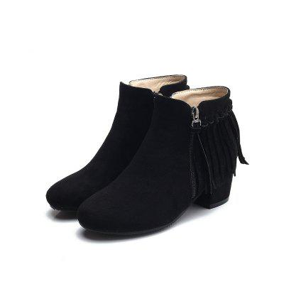 Round Thick Low Heel and Fashionable Suede BootsWomens Boots<br>Round Thick Low Heel and Fashionable Suede Boots<br><br>Boot Height: Ankle<br>Boot Type: Fashion Boots<br>Closure Type: Zip<br>Gender: For Women<br>Heel Height Range: Low(0.75-1.5)<br>Heel Type: Wedge Heel<br>Insole Material: PU<br>Lining Material: Lycra<br>Package Contents: 1xShoes?pair?<br>Pattern Type: Solid<br>Season: Winter<br>Shoe Width: Medium(B/M)<br>Toe Shape: Round Toe<br>Upper Material: Microfiber<br>Weight: 0.7800kg