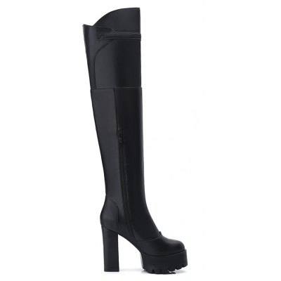 Head with Super Sexy High-Heeled Boots Knee RoughWomens Boots<br>Head with Super Sexy High-Heeled Boots Knee Rough<br><br>Boot Height: Over-the-Knee<br>Boot Type: Fashion Boots<br>Closure Type: Zip<br>Gender: For Women<br>Heel Height Range: Super High(Above4)<br>Heel Type: Chunky Heel<br>Insole Material: PU<br>Lining Material: Lycra<br>Package Contents: 1xShoes?pair?<br>Pattern Type: Solid<br>Platform Height: 3<br>Season: Winter<br>Shoe Width: Medium(B/M)<br>Toe Shape: Round Toe<br>Upper Material: PU<br>Weight: 1.1800kg