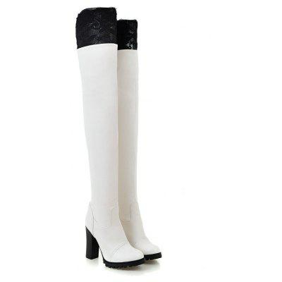 Round Thick with High Heeled Sexy Lace Elastic Thigh BootsWomens Boots<br>Round Thick with High Heeled Sexy Lace Elastic Thigh Boots<br><br>Boot Height: Over-the-Knee<br>Boot Type: Fashion Boots<br>Closure Type: Slip-On<br>Gender: For Women<br>Heel Height Range: Super High(Above4)<br>Heel Type: Chunky Heel<br>Insole Material: PU<br>Lining Material: Lycra<br>Package Contents: 1xShoes?pair?<br>Pattern Type: Solid<br>Platform Height: 1.5<br>Season: Winter<br>Shoe Width: Medium(B/M)<br>Toe Shape: Round Toe<br>Upper Material: PU<br>Weight: 1.1400kg