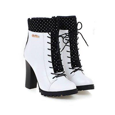 Round Heel Fashion Lace Up Short BootsWomens Boots<br>Round Heel Fashion Lace Up Short Boots<br><br>Boot Height: Ankle<br>Boot Type: Fashion Boots<br>Closure Type: Lace-Up<br>Gender: For Women<br>Heel Height Range: Super High(Above4)<br>Heel Type: Chunky Heel<br>Insole Material: PU<br>Lining Material: Lycra<br>Package Contents: 1xShoes?pair?<br>Pattern Type: Solid<br>Platform Height: 1.5<br>Season: Winter<br>Shoe Width: Medium(B/M)<br>Toe Shape: Round Toe<br>Upper Material: PU<br>Weight: 0.8500kg