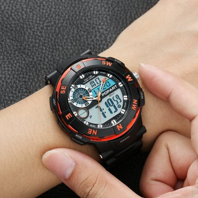 POPART POP831AD Trendy Sports Rubber Band Men Quartz WatchLED Watches<br>POPART POP831AD Trendy Sports Rubber Band Men Quartz Watch<br><br>Band material: Rubber<br>Band size: 26 x 2.1cm<br>Case material: PC<br>Clasp type: Pin buckle<br>Dial size: 5.2 x 5.2 x 1.5cm<br>Display type: Digital<br>Hour formats: 12/24 Hour<br>Movement type: Digital watch<br>Package Contents: 1 x Watch , 1 x Box<br>Package size (L x W x H): 7.90 x 7.90 x 7.90 cm / 3.11 x 3.11 x 3.11 inches<br>Package weight: 0.1050 kg<br>People: Male table<br>Product size (L x W x H): 26.00 x 5.20 x 1.50 cm / 10.24 x 2.05 x 0.59 inches<br>Product weight: 0.0600 kg<br>Shape of the dial: Round<br>Special features: Stopwatch, Multi Time Zones, Month, Luminous, Light, EL Back-light, Alarm Clock, Date, Countdown function, Day, Decorating compass<br>Watch mirror: Acrylic<br>Watch style: Outdoor Sports, LED, Fashion, Casual, Military<br>Water resistance: 50 meters