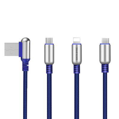 3 in 1 8 Pin + Micro USB + Type-C Connector Fast Charging Data Transfer Cable