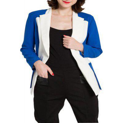 Medium Length Coat  Square Neck Blue Patchwork  Pocket  Fashion