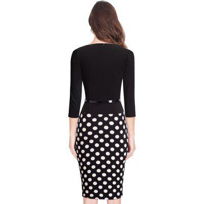 One-piece Faux Jacket Retro Contrast Polka Wear to Work Business Vestidos Office Bodycon Women Sheath DressWomens Dresses<br>One-piece Faux Jacket Retro Contrast Polka Wear to Work Business Vestidos Office Bodycon Women Sheath Dress<br><br>Dresses Length: Knee-Length<br>Elasticity: Elastic<br>Fabric Type: Broadcloth<br>Material: Cotton Blend<br>Neckline: Round Collar<br>Package Contents: 1?Dress<br>Pattern Type: Polka Dot<br>Season: Fall<br>Silhouette: Sheath<br>Sleeve Length: 3/4 Length Sleeves<br>Style: Vintage<br>Weight: 0.3800kg<br>With Belt: No