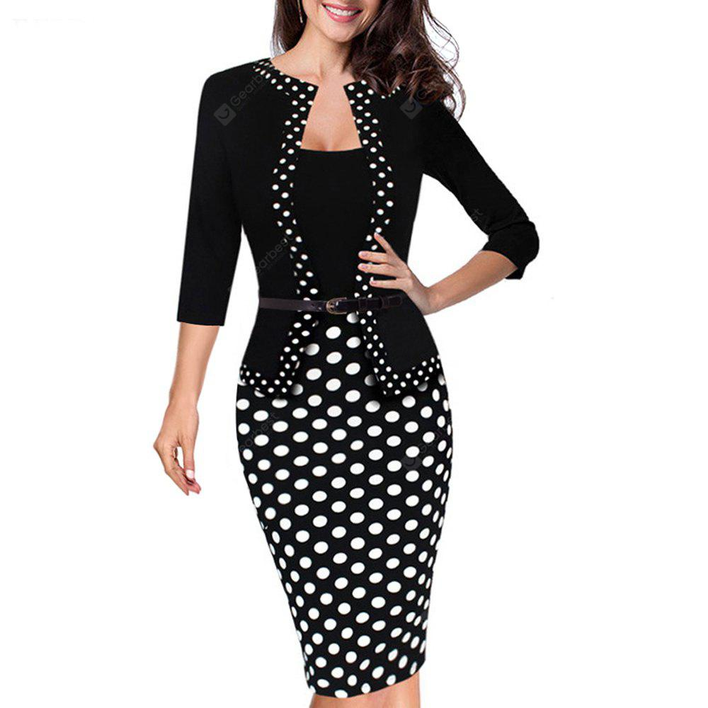 Un pezzo di Faux Jacket Retro Contrast Polka Wear to Work Affari Vestidos Bodycon Women Women Dress