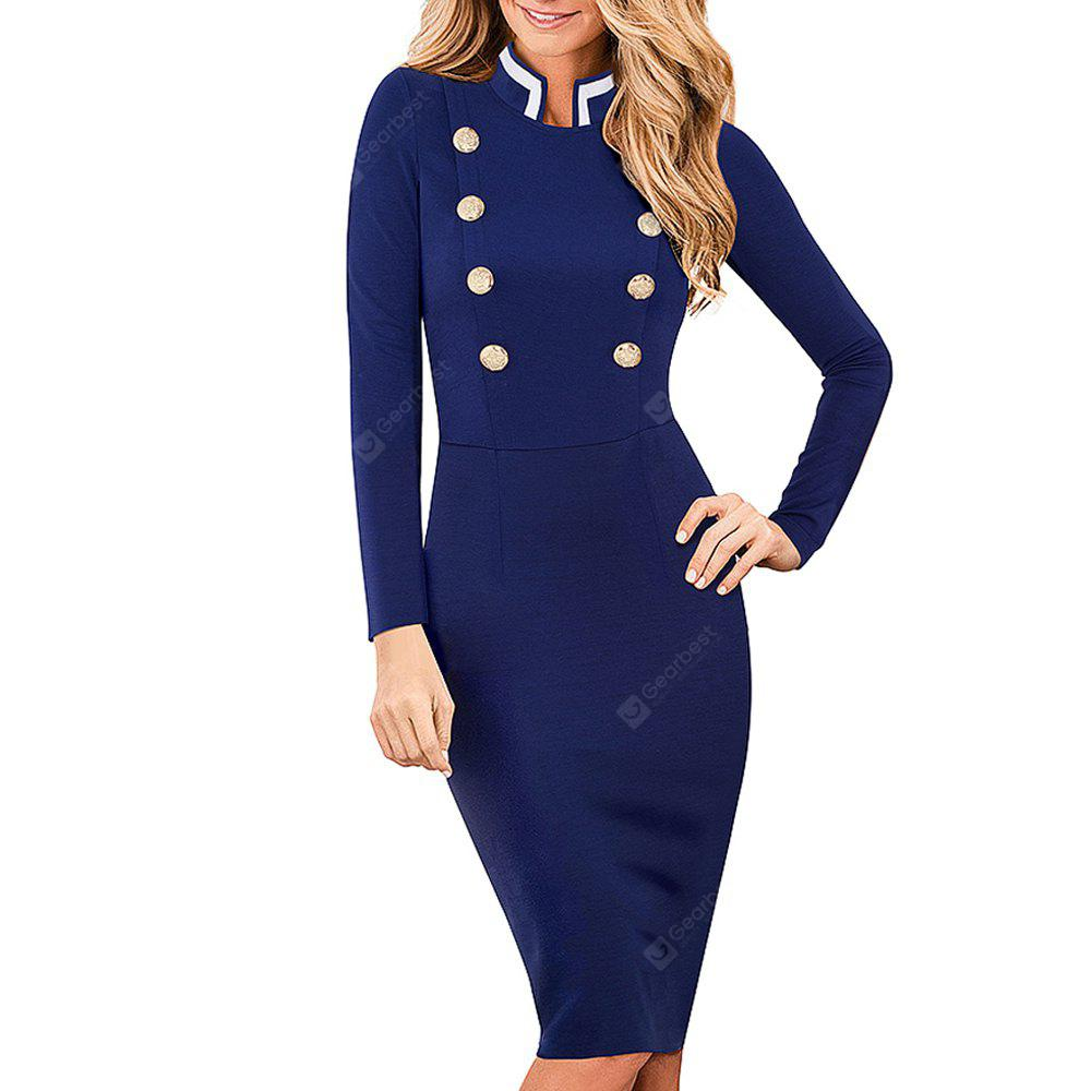 Vintage Long Sleeve Solid Color Stand Collar Double-Breasted Button Vestidos Business Work Bodycon Women Dress