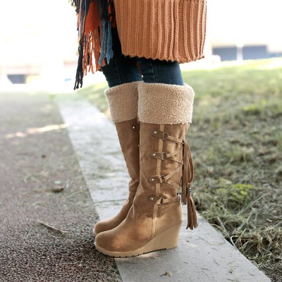 Women Wedge  Big Size Long BootsWomens Boots<br>Women Wedge  Big Size Long Boots<br><br>Boot Height: Knee-High<br>Boot Tube Circumference: 38<br>Boot Tube Height: 33<br>Boot Type: Snow Boots<br>Closure Type: Slip-On<br>Gender: For Women<br>Heel Height: 7<br>Heel Height Range: High(3-3.99)<br>Heel Type: Wedge Heel<br>Package Contents: 1XShoes (pair)<br>Pattern Type: Solid<br>Platform Height: 1.5<br>Season: Winter<br>Toe Shape: Round Toe<br>Upper Material: Flock<br>Weight: 1.4784kg