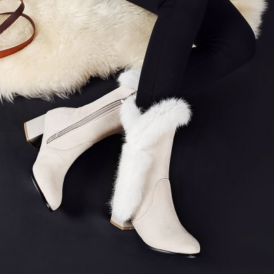 Comfortable Boots with Thick Hair Cashmere Cotton BootsWomens Boots<br>Comfortable Boots with Thick Hair Cashmere Cotton Boots<br><br>Boot Height: Knee-High<br>Boot Tube Circumference: 30<br>Boot Tube Height: 21<br>Boot Type: Snow Boots<br>Closure Type: Zip<br>Gender: For Women<br>Heel Height: 5.5<br>Heel Height Range: Med(1.75-2.75)<br>Heel Type: Chunky Heel<br>Package Contents: 1 x Shoes (pair)<br>Pattern Type: Solid<br>Season: Winter<br>Toe Shape: Round Toe<br>Upper Material: Flock<br>Weight: 1.4784kg