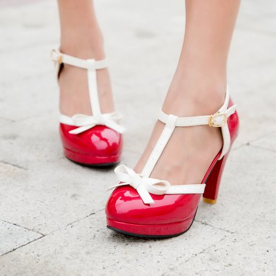 Womens Sandals Mixed Color Sweet Style Bow Knot Thick Heel ShoesWomens Pumps<br>Womens Sandals Mixed Color Sweet Style Bow Knot Thick Heel Shoes<br><br>Available Size: 34 35 36 37 38 39 40 41 42 43<br>Embellishment: Butterfly<br>Heel Height: 8.5<br>Heel Height Range: High(3-3.99)<br>Heel Type: Stiletto Heel<br>Insole Material: PU<br>Lining Material: PU<br>Occasion: Party<br>Package Contents: 1 x Shoes (pair)<br>Platform Height: 1.5<br>Pumps Type: Basic<br>Season: Spring/Fall<br>Toe Shape: Round Toe<br>Toe Style: Closed Toe<br>Upper Material: Patent Leather<br>Weight: 1.2320kg