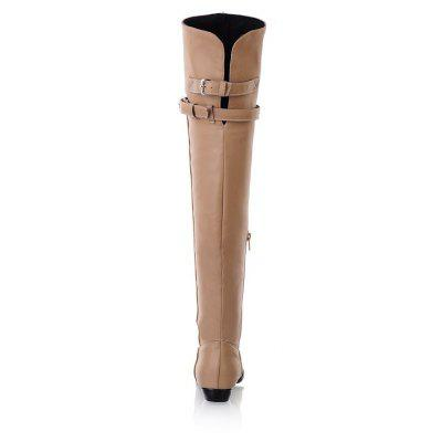 Buckle  Slim Knee  Knight BootsWomens Boots<br>Buckle  Slim Knee  Knight Boots<br><br>Boot Height: Over-the-Knee<br>Boot Tube Circumference: 40<br>Boot Tube Height: 57<br>Boot Type: Fashion Boots<br>Closure Type: Zip<br>Gender: For Women<br>Heel Height: 2.5<br>Heel Height Range: Low(0.75-1.5)<br>Heel Type: Low Heel<br>Package Contents: 1x Shoes (pair)<br>Pattern Type: Solid<br>Season: Winter<br>Toe Shape: Round Toe<br>Upper Material: PU<br>Weight: 1.3440kg
