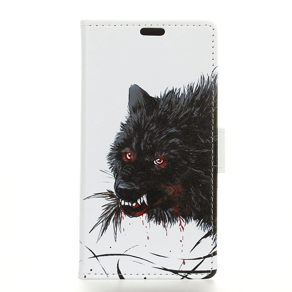 Painted Wolf Pattern Leather Cover Case for HTC U11 Plus