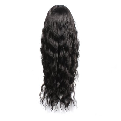 Black Color Synthetic Hair Body Wave Long Wigs with Side Bangs Celebrity Style Pelucas for Africa Women 80cm long black synthetic heat resistent hair wave curly wig for women with bangs free shipping
