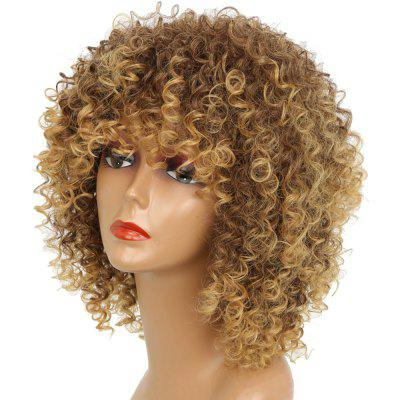 Short Kinky Curly Hair Hot Heat-resistant Synthetic Golden Blonde Mixed Color Wig for African American Women short kinky curly wig african american cheap wigs synthetic fiber short afro kinky curly hair wigs for black women free shipping