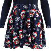 Large Size Women's Digital Printing Christmas Dress - CADETBLUE