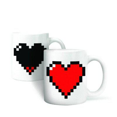 Hot Changing Color Cups Heat Reactive Mugs Heart Shaped