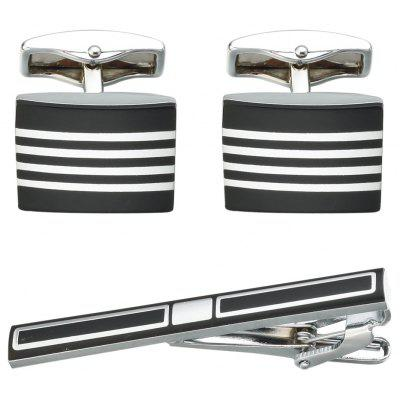 Fashion Black Cufflinks Tie Clip Set for men's Gift Luxury French Shirt Cuff Links