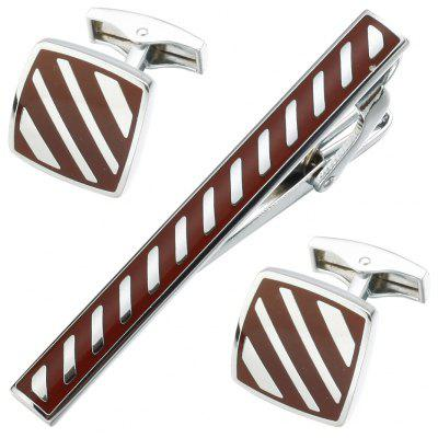 Luxury French Shirt Cufflinks Enamel Red Stripes Cuff Links
