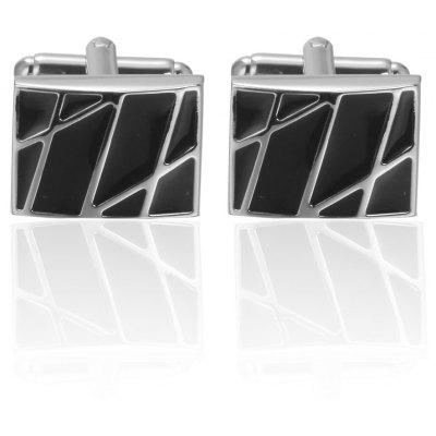 Classic Square Black Laser Stripe Bussiness Mens Cufflinks Set High Quality