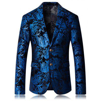 High-end Fashion Luxury Men's Golden Floral Blazers Business Casual Suit
