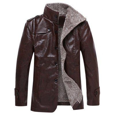Winter Thick Leather Garment Casual Flocking Warm Clothing  Men Jacket