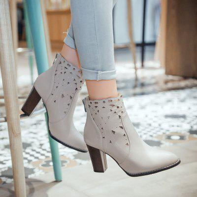Hollow Pointed Lady Rough Heel Short BootsWomens Boots<br>Hollow Pointed Lady Rough Heel Short Boots<br><br>Boot Height: Ankle<br>Boot Type: Fashion Boots<br>Closure Type: Zip<br>Gender: For Women<br>Heel Type: Chunky Heel<br>Package Contents: 1 xShoes(pair)<br>Pattern Type: Solid<br>Season: Winter, Spring/Fall<br>Toe Shape: Pointed Toe<br>Upper Material: PU<br>Weight: 1.2320kg