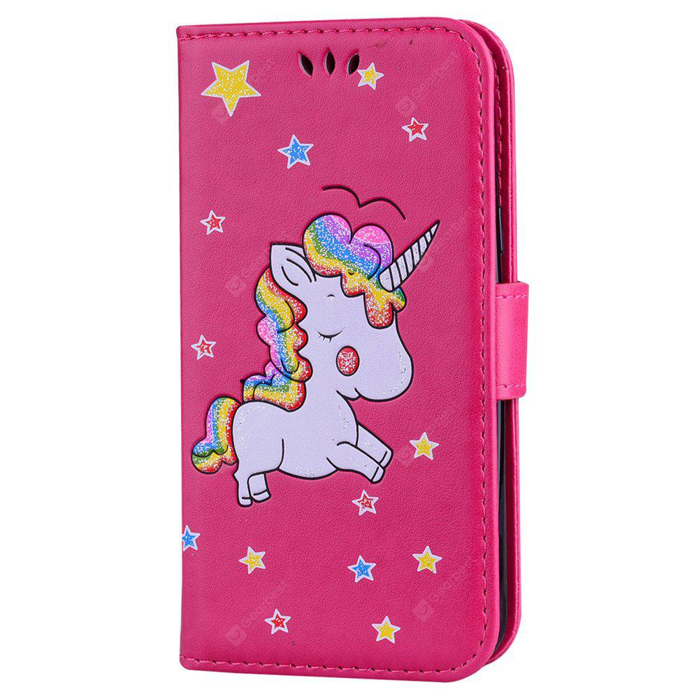 Cute Unicorn PU Leather Wallet Flip Protective Case Cover with Card Slots and Stand for Samsung  Galaxy J3 2016
