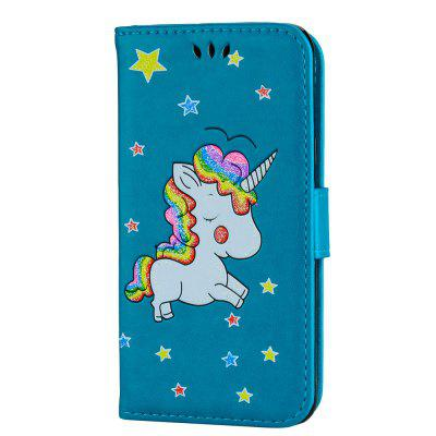 Cute Unicorn PU Leather Wallet Flip Protective Case Cover with Card Slots and Stand for Samsung Galaxy A3 2016