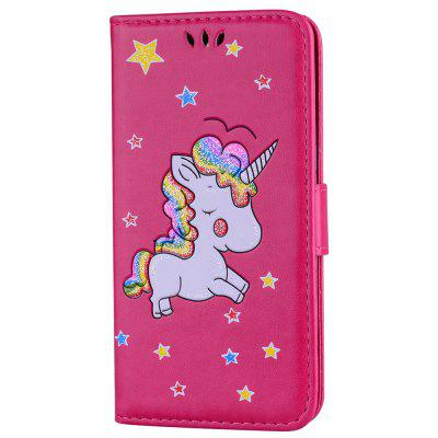 Cute Unicorn PU Leather Wallet Flip Protective Case Cover with Card Slots and Stand for Samsung Galaxy A3 2017