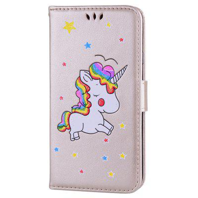 Cute Unicorn PU Leather Wallet Flip Protective Case Cover with Card Slots and Stand for Samsung Galaxy J3 2017