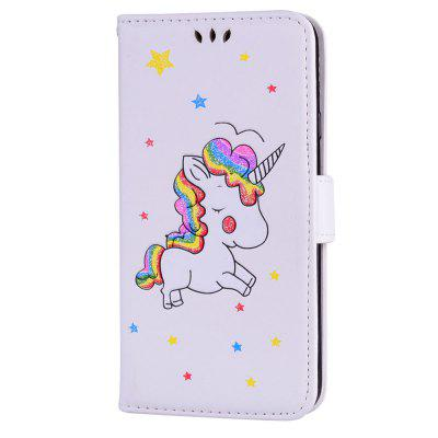 Cute Unicorn PU Leather Wallet Flip Protective Case Cover with Card Slots and Stand for Samsung Galaxy J7 2017