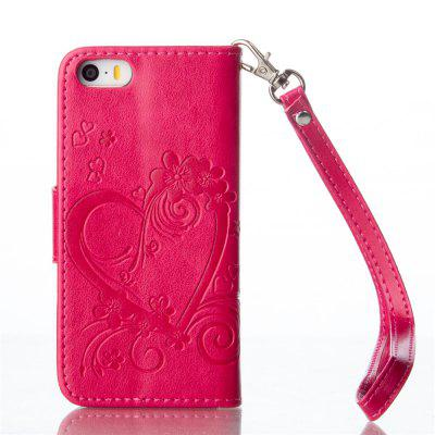 Imprint Heart Flower Wallet Leather Stand Cell Phone Cover with Magnet for iPhone 5 / 5S / SE toddler kids baby girls boho long foral princess party dress prom beach maxi sundress print lovely casual long sleeve dresses
