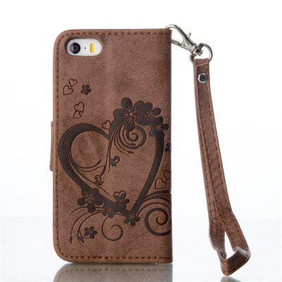 Imprint Heart Flower Wallet Leather Stand Cell Phone Cover with Magnet for iPhone 5 / 5S / SE icarer wallet genuine leather phone stand cover for iphone 6s plus 6 plus marsh camouflage