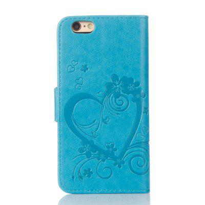 ImprintHeartFlowerWalletLeatherStandCellPhoneCoverwithMagnetforiPhone6S/ 6 glitter powder leather wallet mobile phone casing for iphone 6s plus 6 plus with stand blue